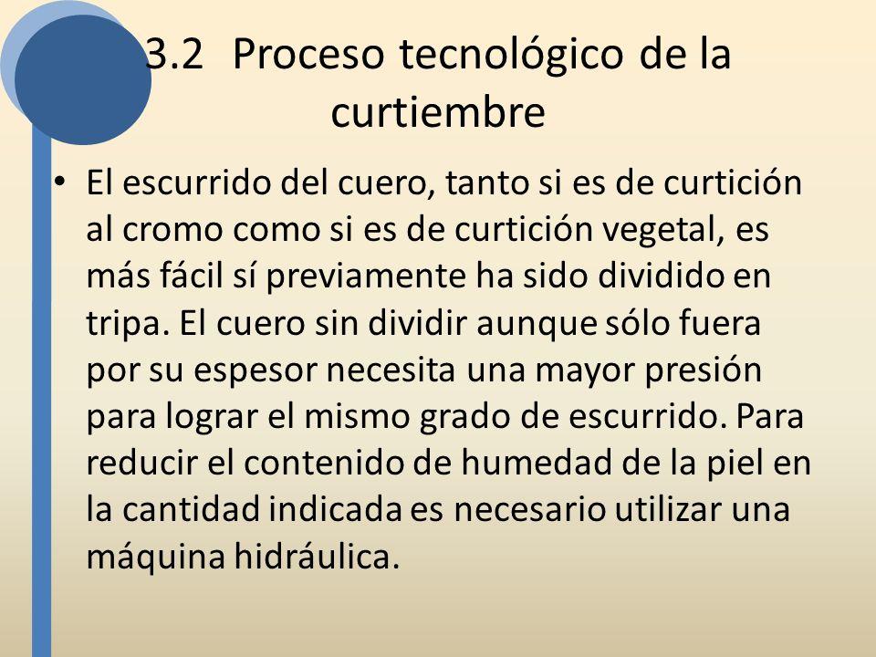 3.2Proceso tecnológico de la curtiembre El escurrido del cuero, tanto si es de curtición al cromo como si es de curtición vegetal, es más fácil sí pre
