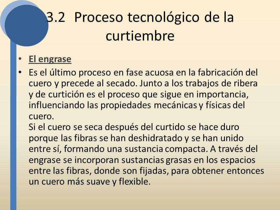 3.2Proceso tecnológico de la curtiembre El engrase Es el último proceso en fase acuosa en la fabricación del cuero y precede al secado. Junto a los tr