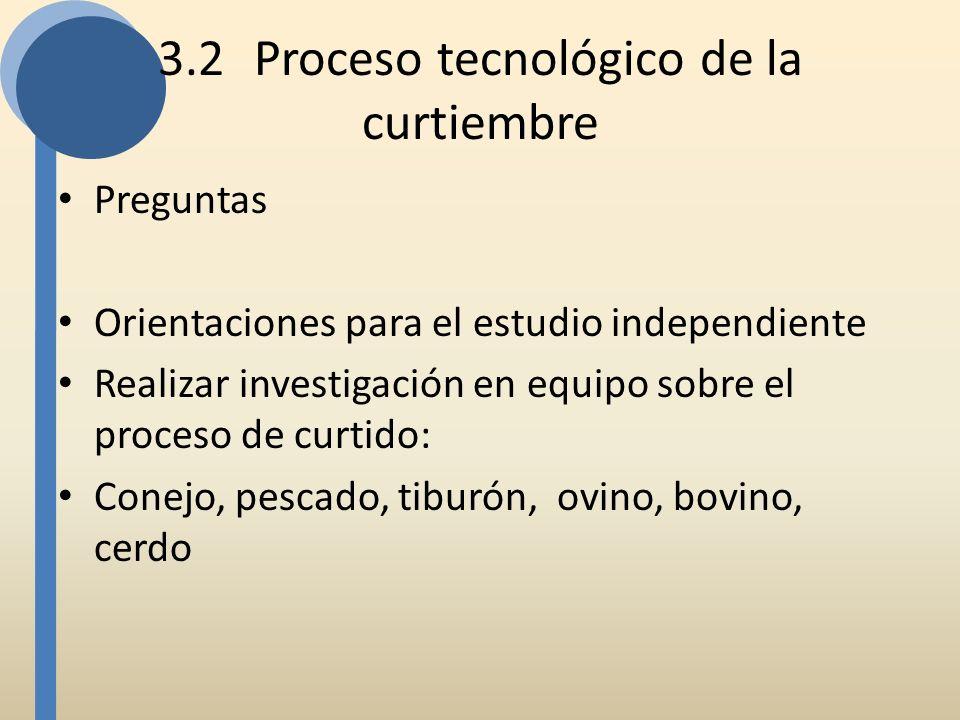 3.2Proceso tecnológico de la curtiembre Preguntas Orientaciones para el estudio independiente Realizar investigación en equipo sobre el proceso de cur