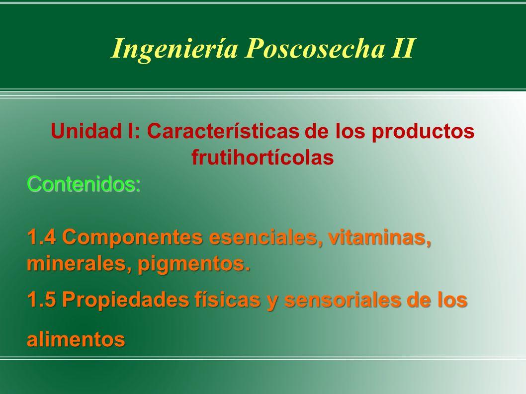 Ingeniería Poscosecha II Unidad I: Características de los productos frutihortícolasContenidos: 1.4 Componentes esenciales, vitaminas, minerales, pigmentos.