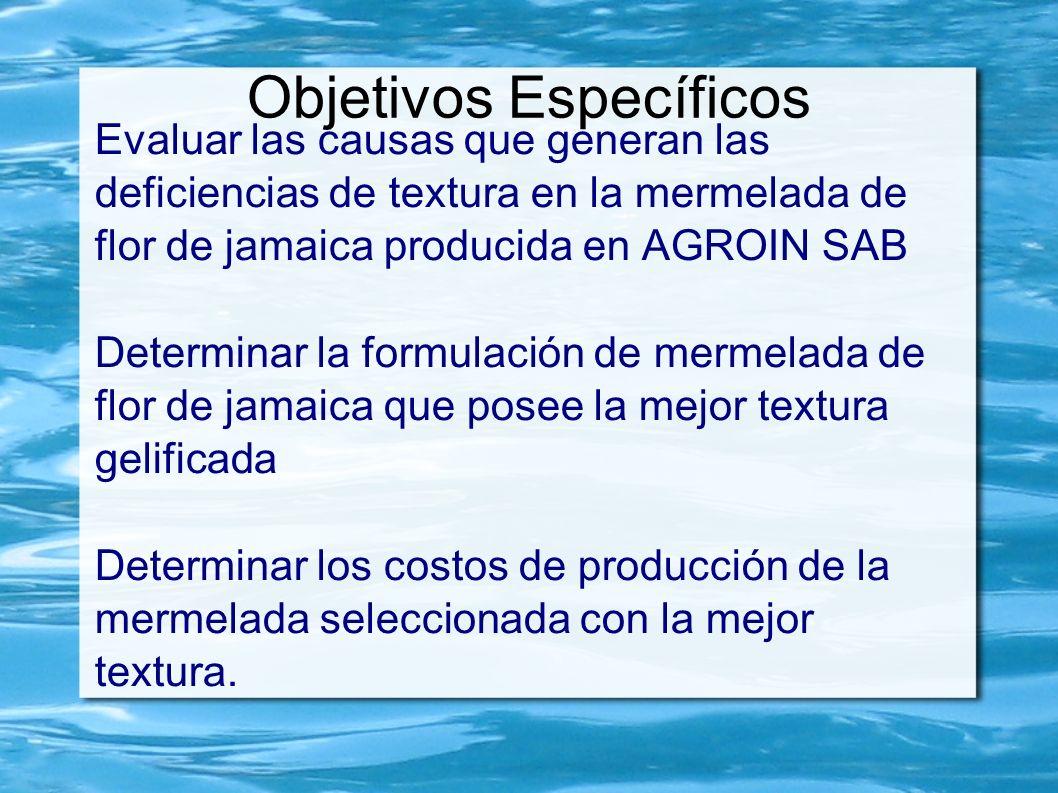 Objetivos Específicos Evaluar las causas que generan las deficiencias de textura en la mermelada de flor de jamaica producida en AGROIN SAB Determinar