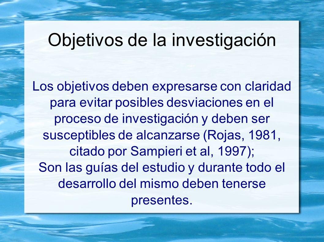 Objetivos de la investigación Los objetivos deben expresarse con claridad para evitar posibles desviaciones en el proceso de investigación y deben ser