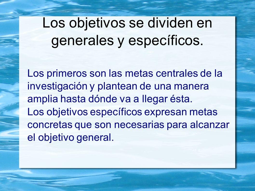 Los objetivos se dividen en generales y específicos. Los primeros son las metas centrales de la investigación y plantean de una manera amplia hasta dó
