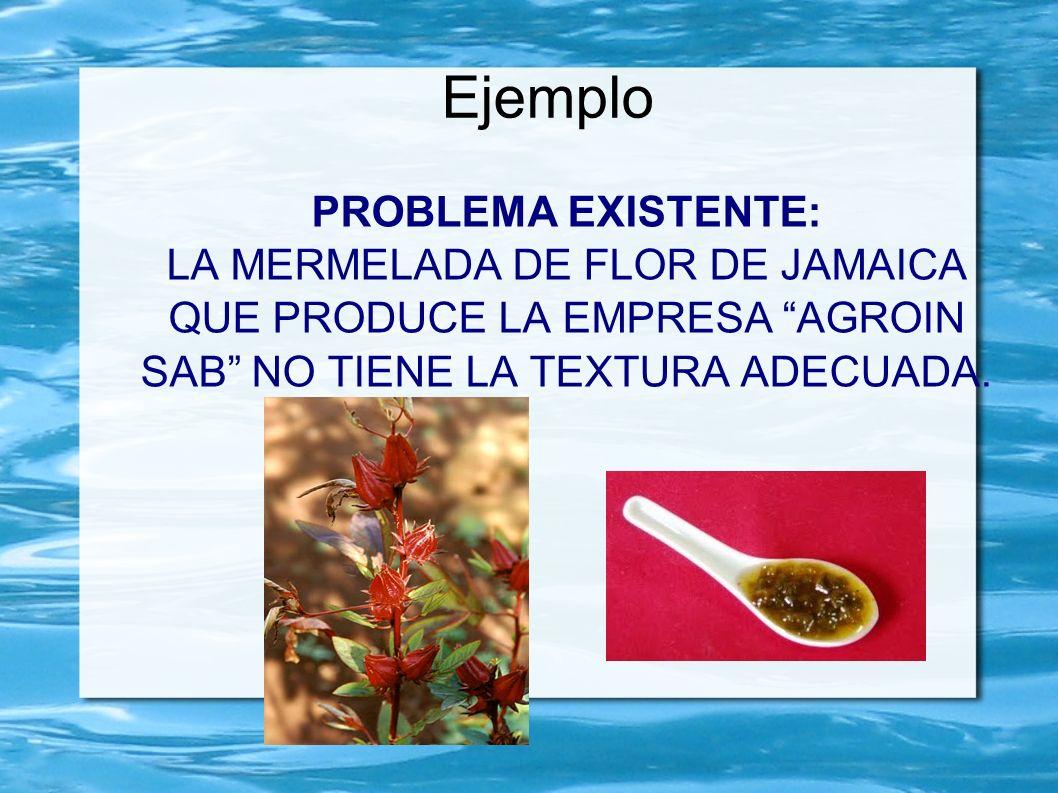Ejemplo PROBLEMA EXISTENTE: LA MERMELADA DE FLOR DE JAMAICA QUE PRODUCE LA EMPRESA AGROIN SAB NO TIENE LA TEXTURA ADECUADA.