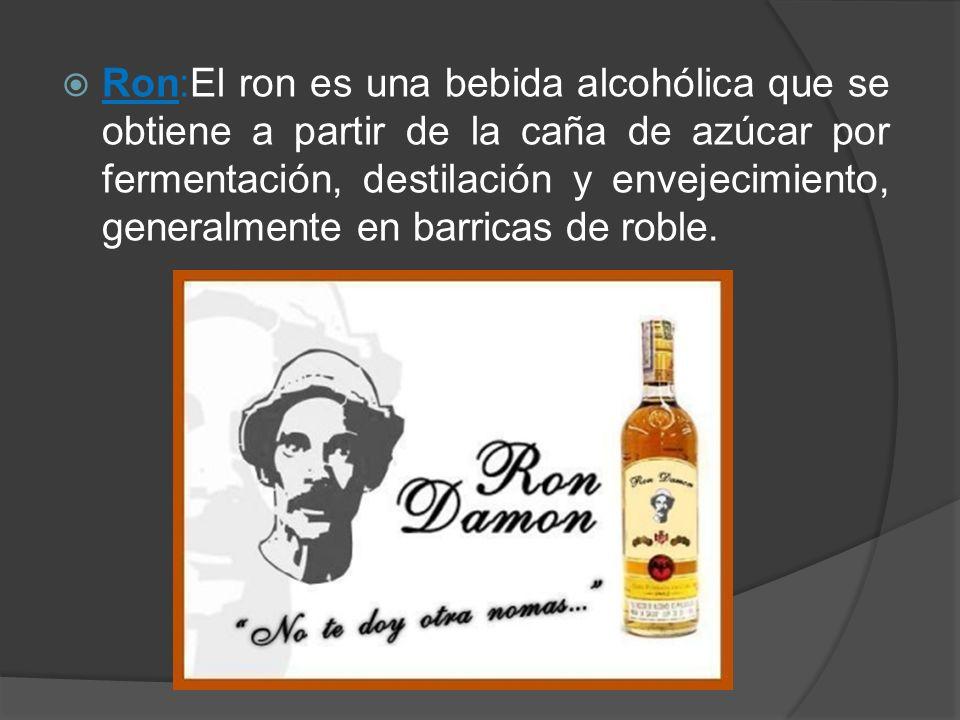 Ron:El ron es una bebida alcohólica que se obtiene a partir de la caña de azúcar por fermentación, destilación y envejecimiento, generalmente en barri