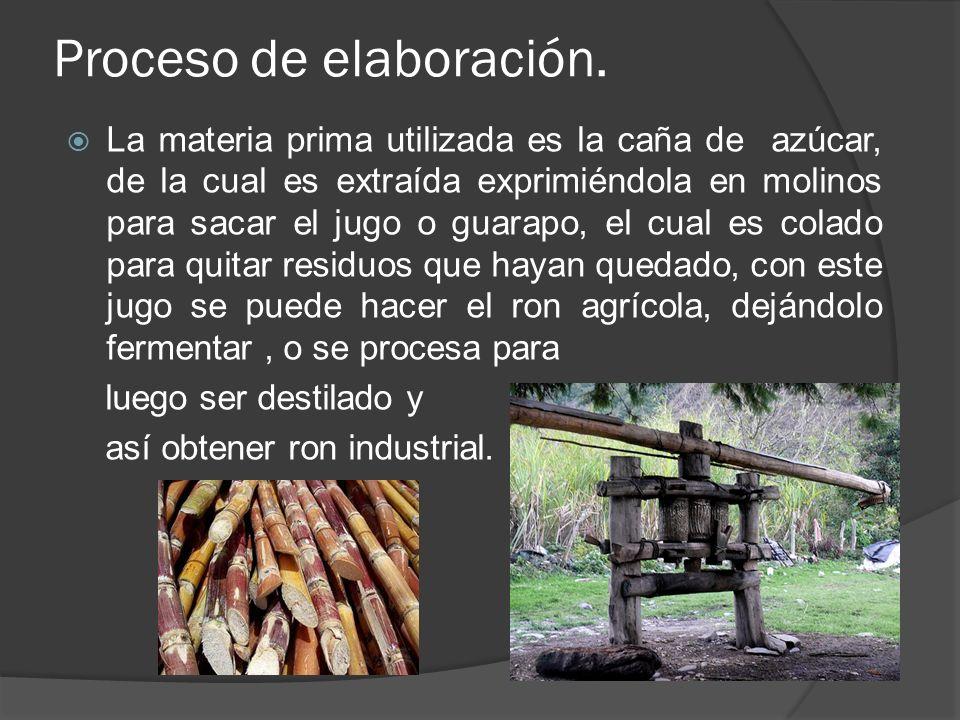 Proceso de elaboración. La materia prima utilizada es la caña de azúcar, de la cual es extraída exprimiéndola en molinos para sacar el jugo o guarapo,