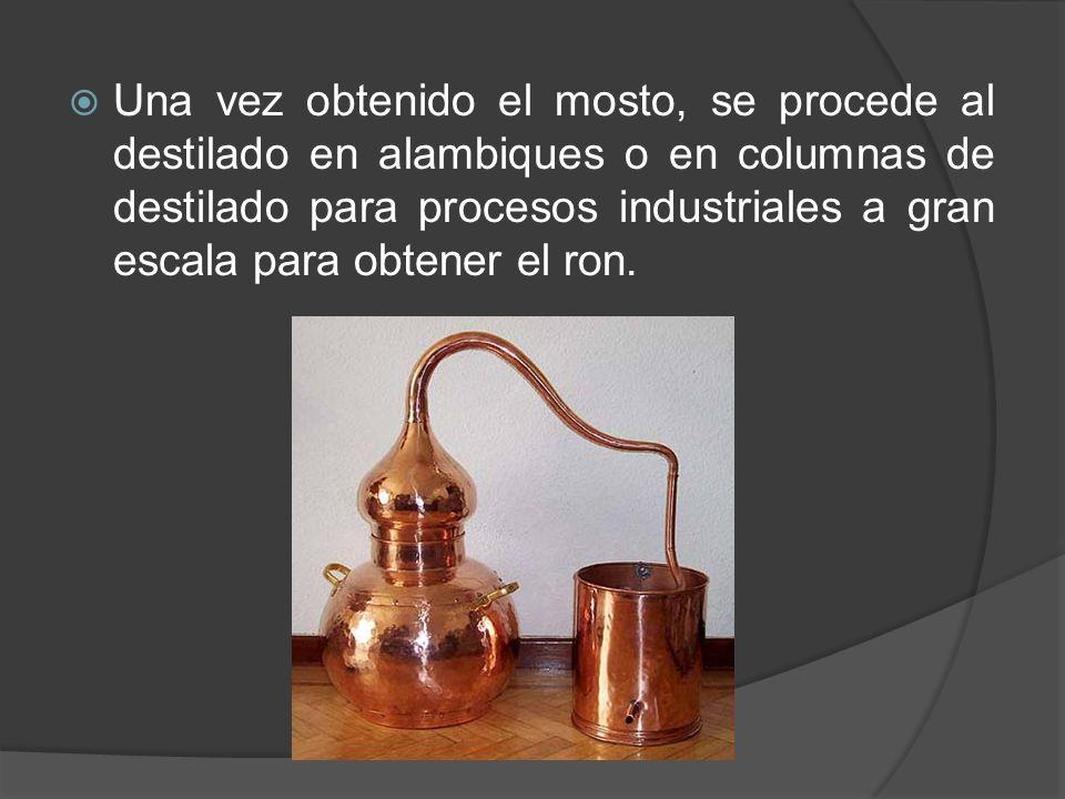 Una vez obtenido el mosto, se procede al destilado en alambiques o en columnas de destilado para procesos industriales a gran escala para obtener el r