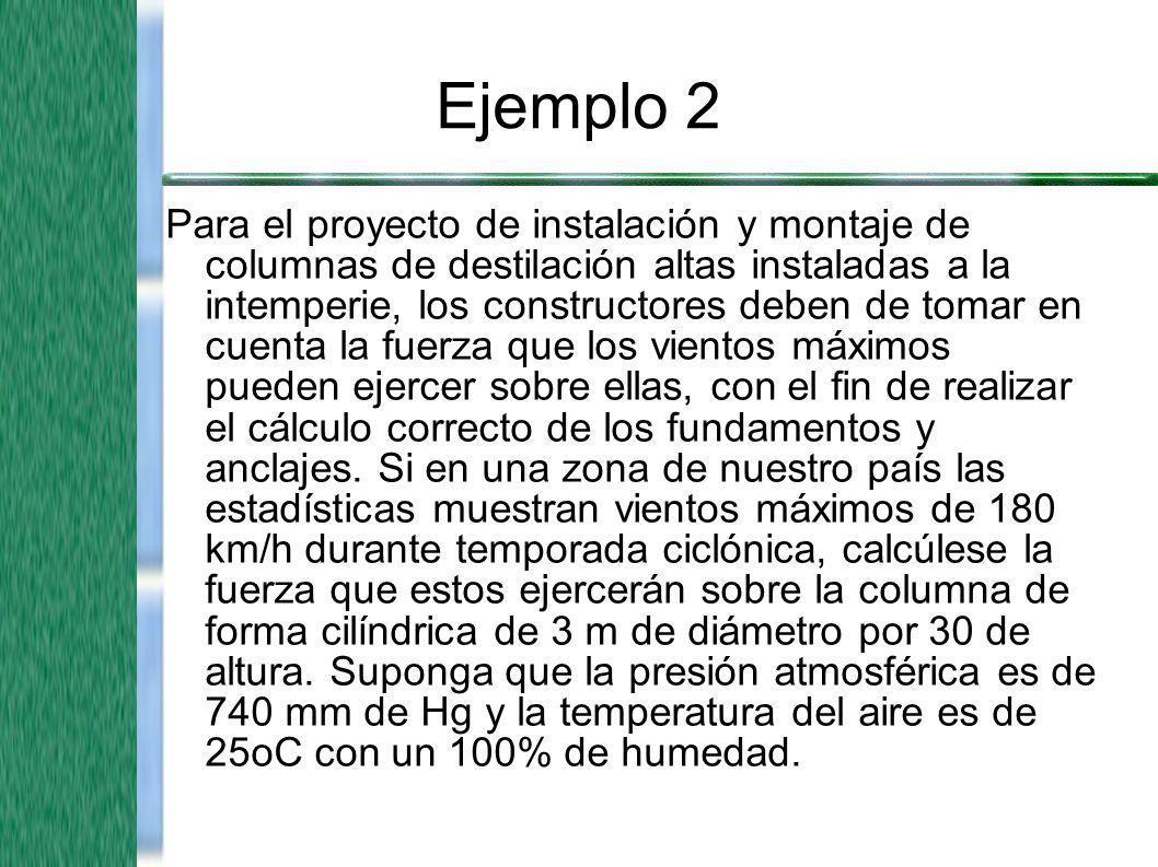Ejemplo 2 Para el proyecto de instalación y montaje de columnas de destilación altas instaladas a la intemperie, los constructores deben de tomar en c