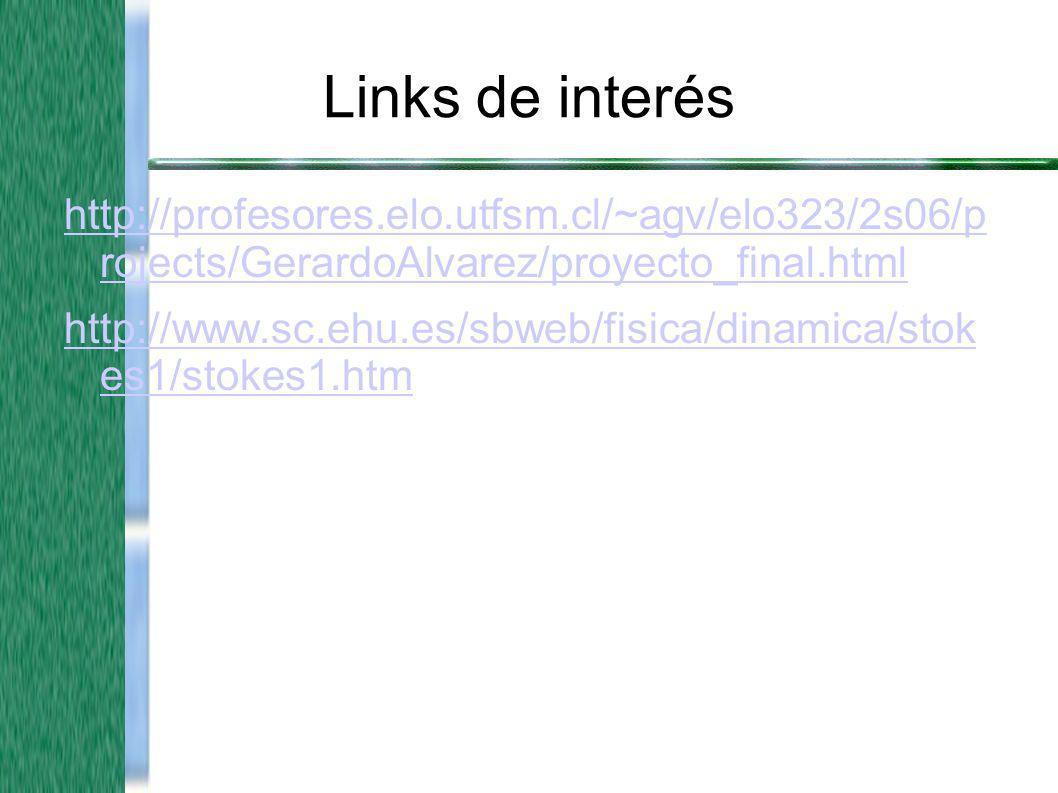 Links de interés http://profesores.elo.utfsm.cl/~agv/elo323/2s06/p rojects/GerardoAlvarez/proyecto_final.html http://www.sc.ehu.es/sbweb/fisica/dinami