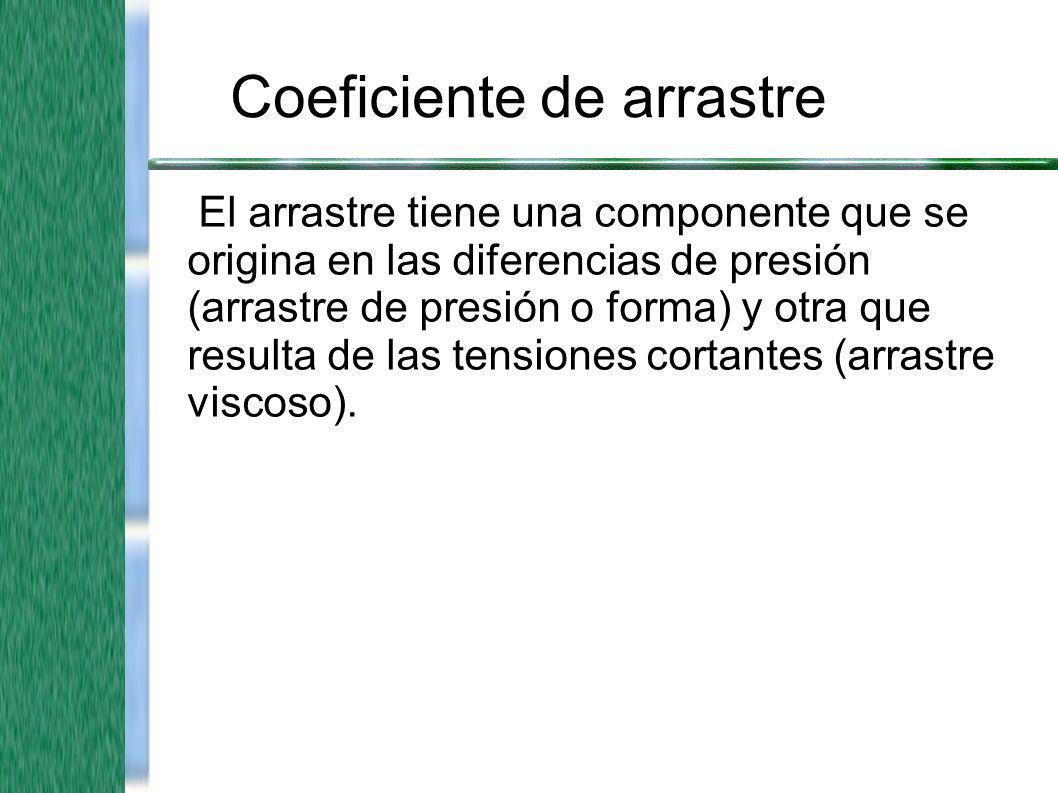 Coeficiente de arrastre El arrastre tiene una componente que se origina en las diferencias de presión (arrastre de presión o forma) y otra que resulta