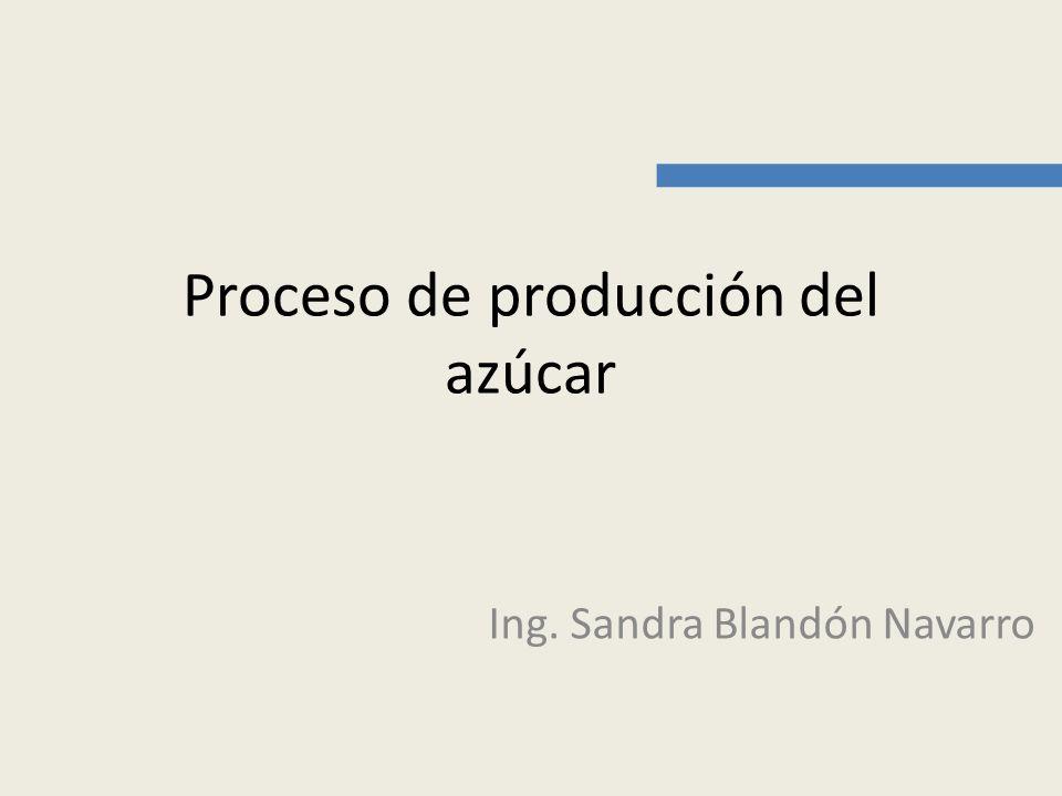 Proceso de producción del azúcar Ing. Sandra Blandón Navarro