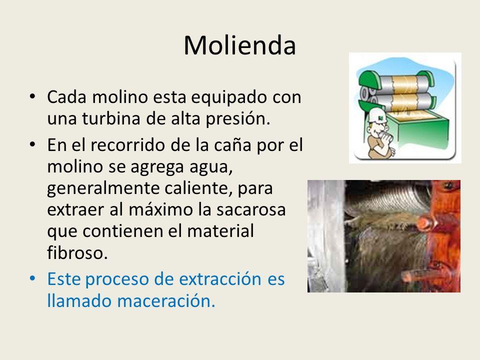 Molienda Cada molino esta equipado con una turbina de alta presión. En el recorrido de la caña por el molino se agrega agua, generalmente caliente, pa