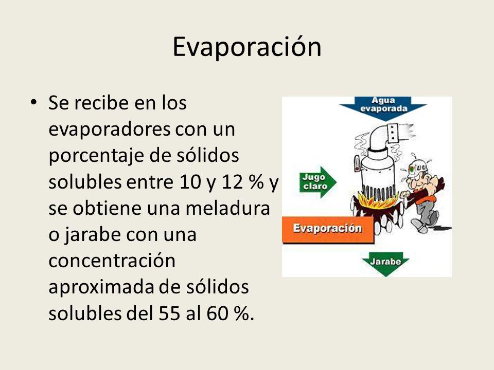Evaporación Se recibe en los evaporadores con un porcentaje de sólidos solubles entre 10 y 12 % y se obtiene una meladura o jarabe con una concentraci
