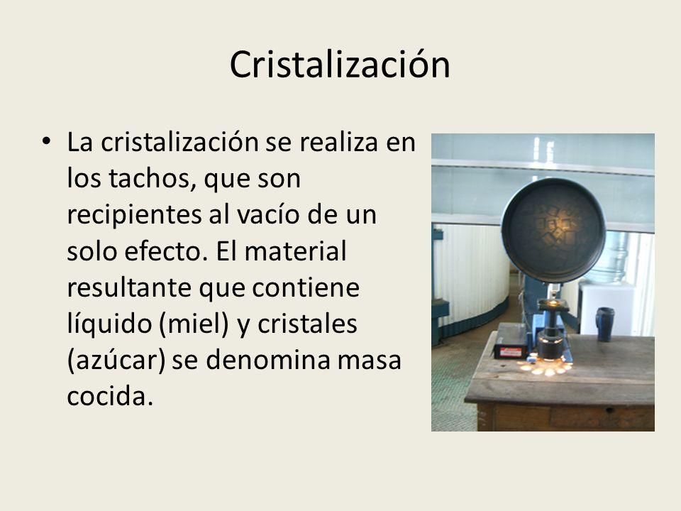 Cristalización La cristalización se realiza en los tachos, que son recipientes al vacío de un solo efecto. El material resultante que contiene líquido