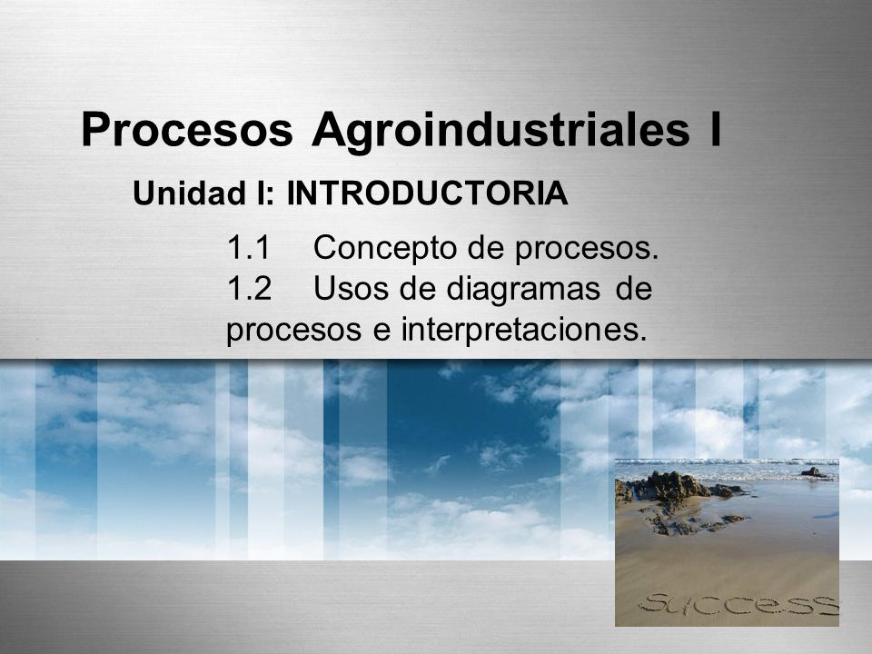 Procesos Agroindustriales I Unidad I: INTRODUCTORIA 1.1Concepto de procesos. 1.2Usos de diagramas de procesos e interpretaciones.