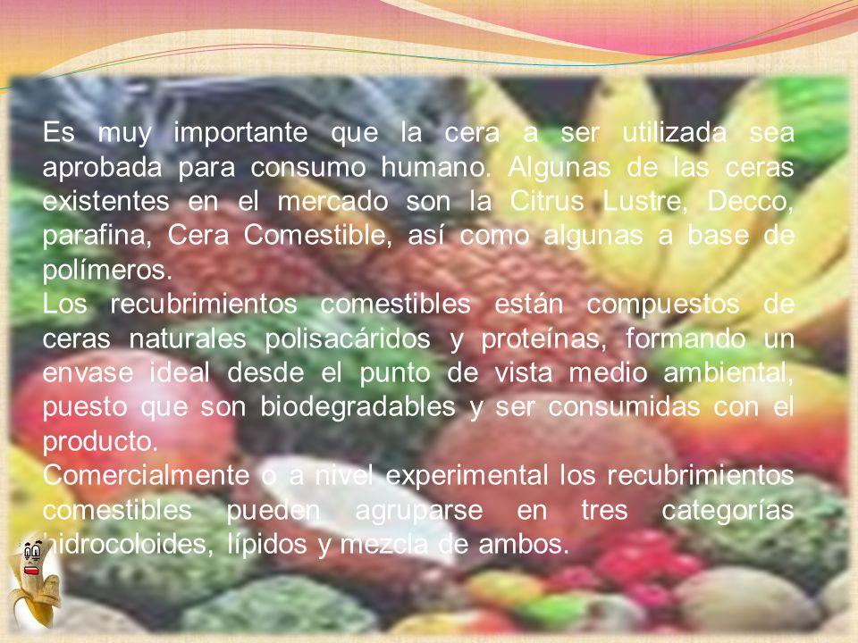 Es muy importante que la cera a ser utilizada sea aprobada para consumo humano. Algunas de las ceras existentes en el mercado son la Citrus Lustre, De