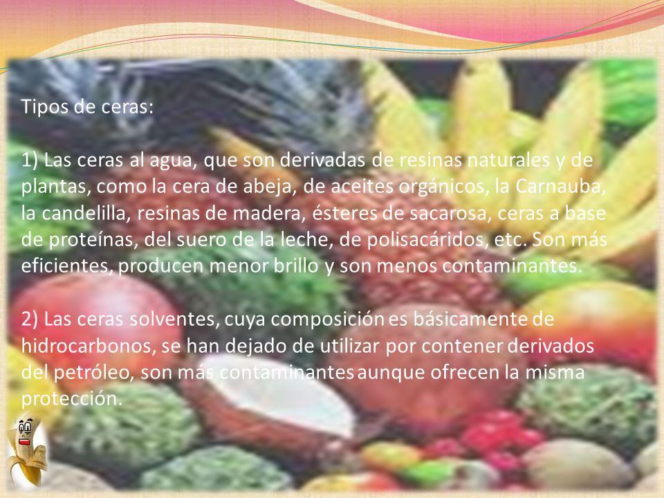 Tipos de ceras: 1) Las ceras al agua, que son derivadas de resinas naturales y de plantas, como la cera de abeja, de aceites orgánicos, la Carnauba, l