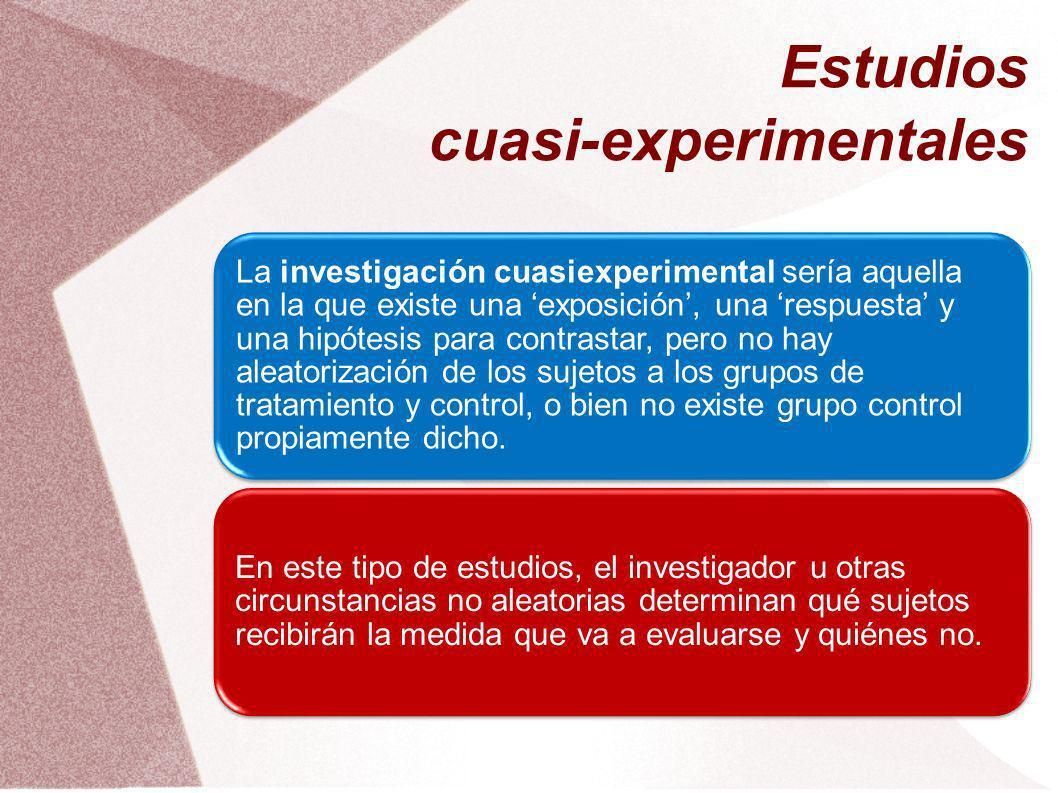 Estudios cuasi-experimentales La investigación cuasiexperimental sería aquella en la que existe una exposición, una respuesta y una hipótesis para con