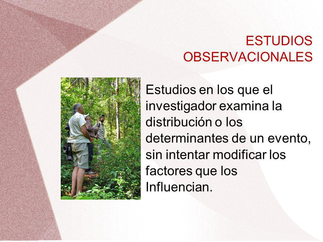ESTUDIOS OBSERVACIONALES Estudios en los que el investigador examina la distribución o los determinantes de un evento, sin intentar modificar los fact