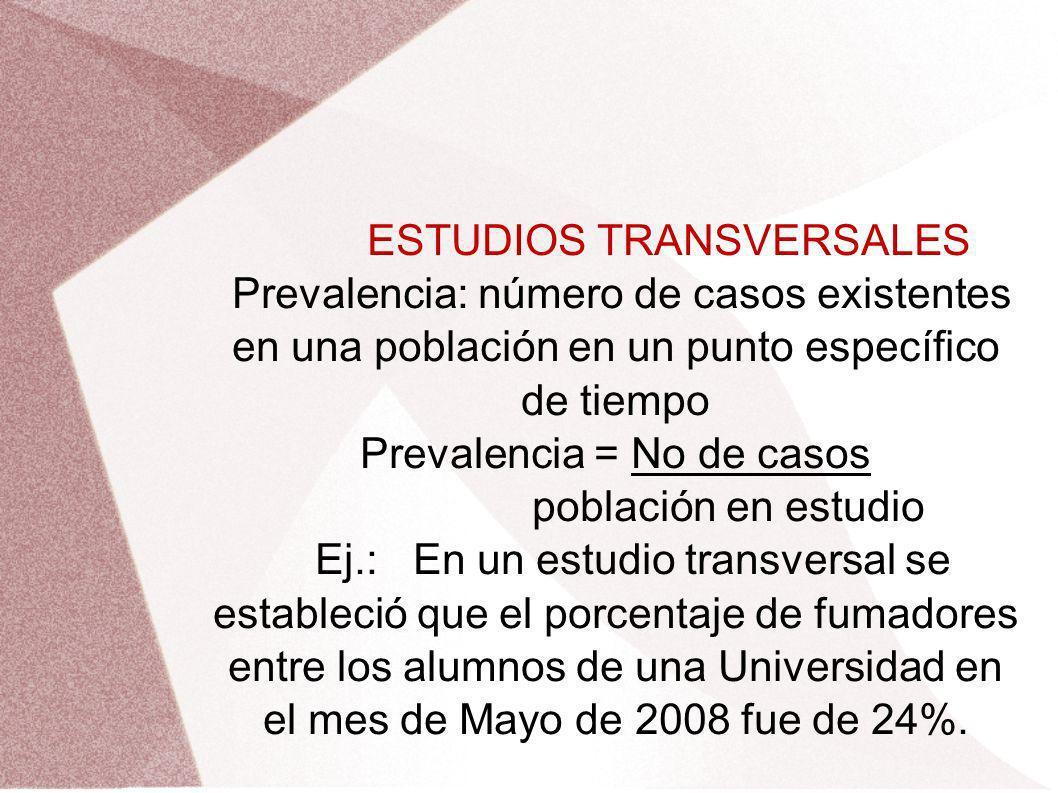 ESTUDIOS TRANSVERSALES Prevalencia: número de casos existentes en una población en un punto específico de tiempo Prevalencia = No de casos población e