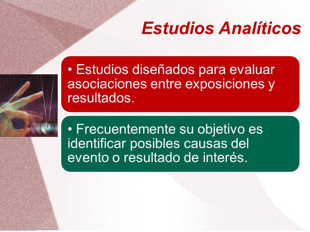 Estudios Analíticos Estudios diseñados para evaluar asociaciones entre exposiciones y resultados. Frecuentemente su objetivo es identificar posibles c
