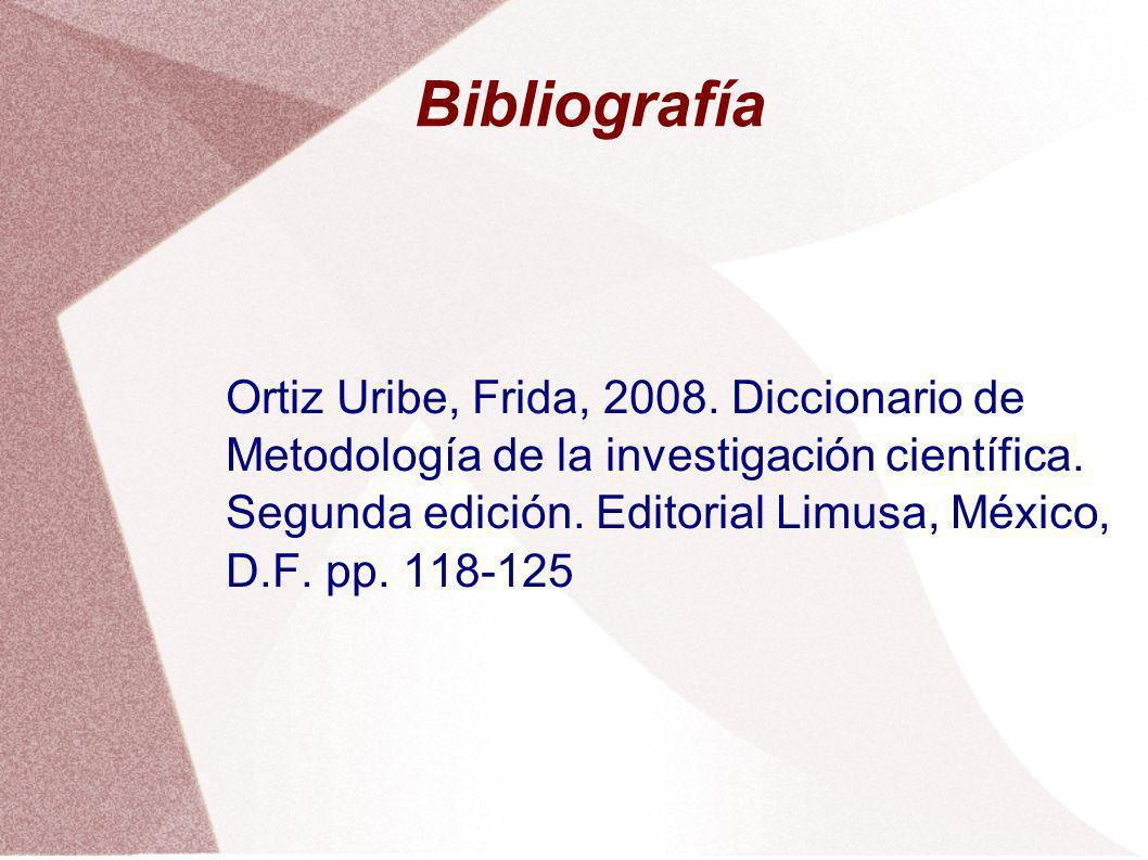 Bibliografía Ortiz Uribe, Frida, 2008. Diccionario de Metodología de la investigación científica. Segunda edición. Editorial Limusa, México, D.F. pp.