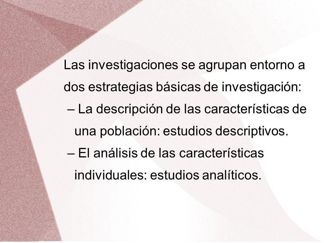 Las investigaciones se agrupan entorno a dos estrategias básicas de investigación: – La descripción de las características de una población: estudios