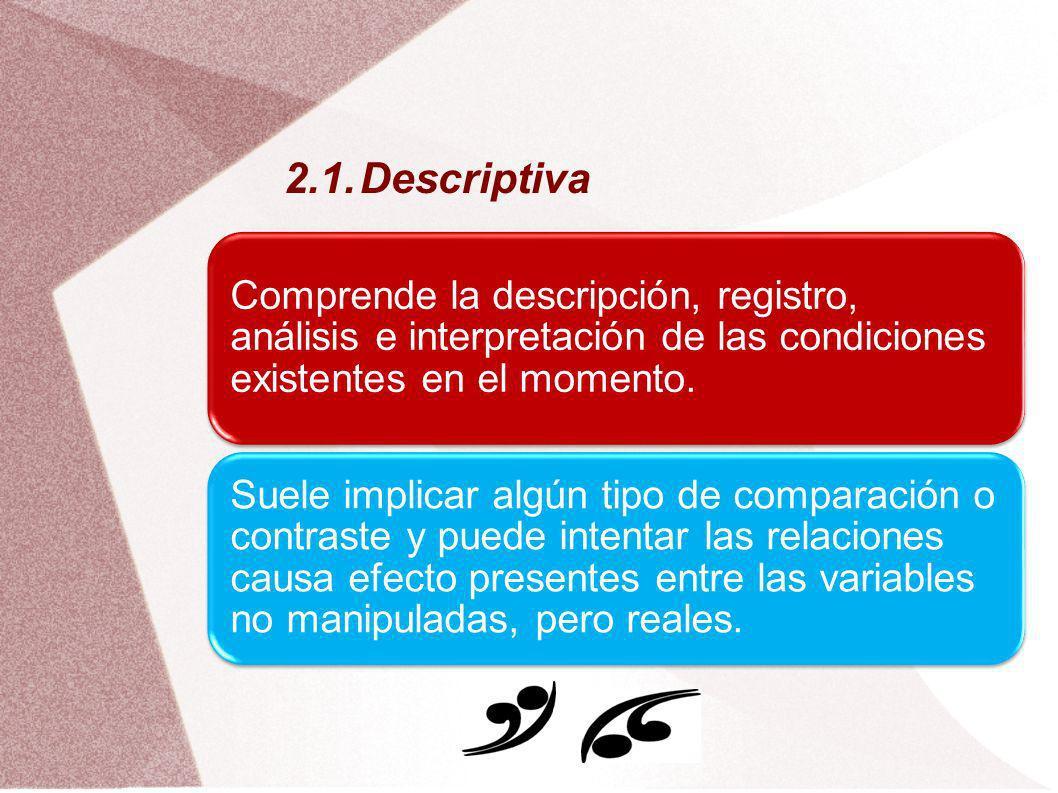 2.1.Descriptiva Comprende la descripción, registro, análisis e interpretación de las condiciones existentes en el momento. Suele implicar algún tipo d