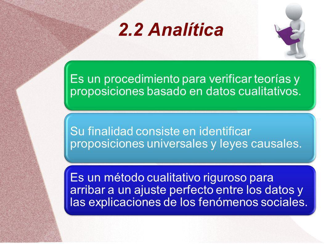 2.2 Analítica Es un procedimiento para verificar teorías y proposiciones basado en datos cualitativos. Su finalidad consiste en identificar proposicio