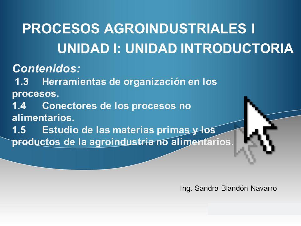 PROCESOS AGROINDUSTRIALES I UNIDAD I: UNIDAD INTRODUCTORIA Ing. Sandra Blandón Navarro Contenidos: 1.3Herramientas de organización en los procesos. 1.