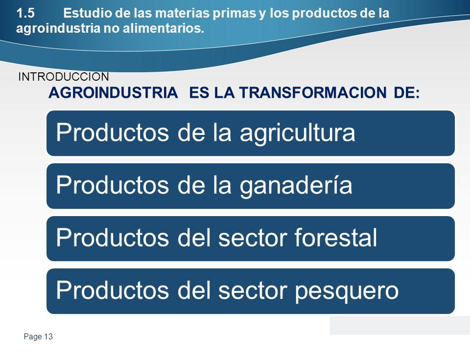 1.5Estudio de las materias primas y los productos de la agroindustria no alimentarios. Productos de la agriculturaProductos de la ganaderíaProductos d