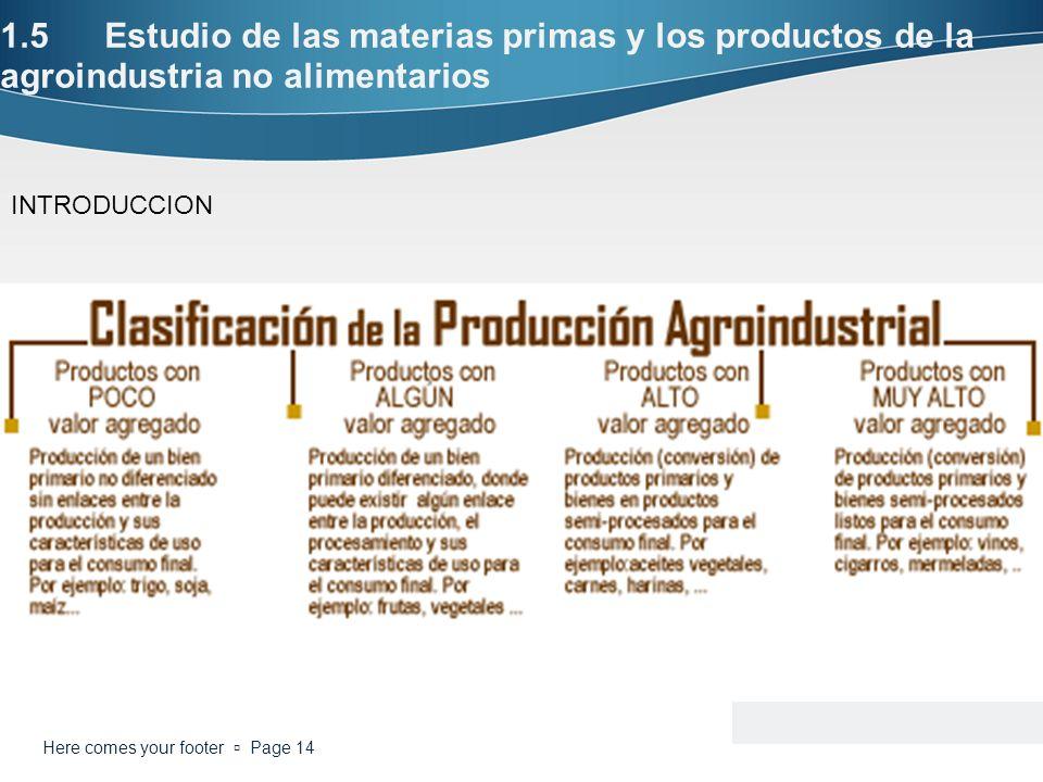 1.5Estudio de las materias primas y los productos de la agroindustria no alimentarios Here comes your footer Page 14 INTRODUCCION