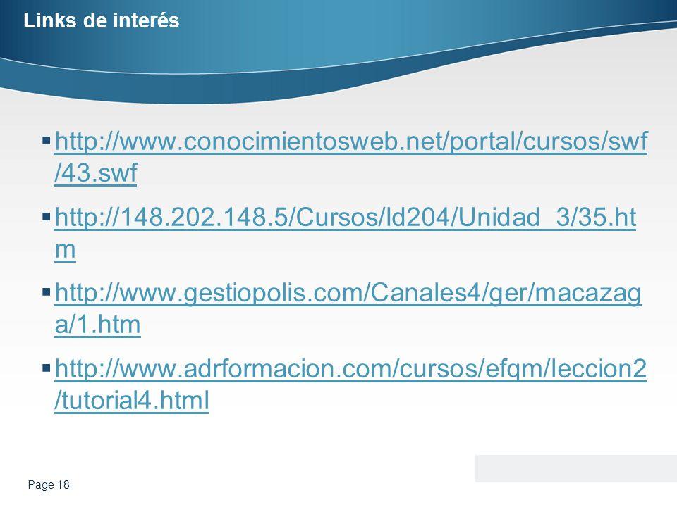 Links de interés http://www.conocimientosweb.net/portal/cursos/swf /43.swf http://www.conocimientosweb.net/portal/cursos/swf /43.swf http://148.202.14