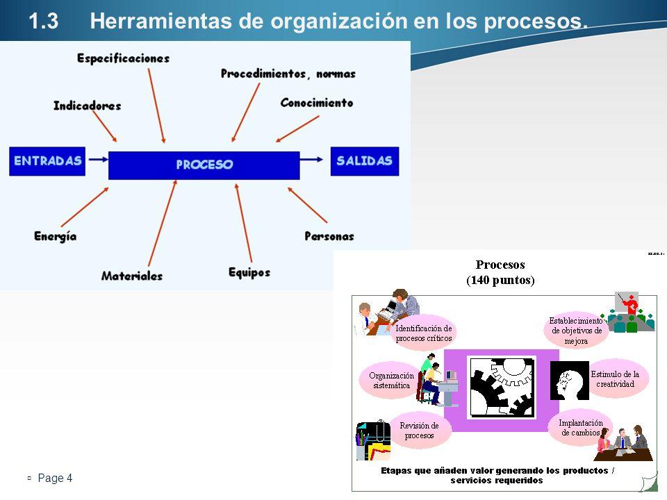 Page 4 1.3Herramientas de organización en los procesos. Enter your subtitle here