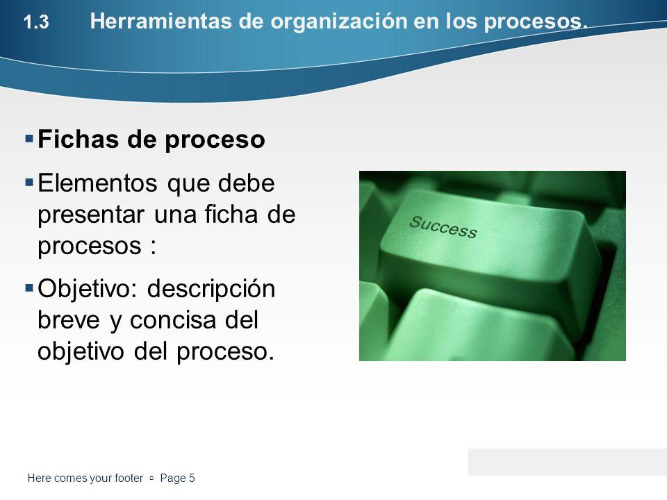 1.3 Herramientas de organización en los procesos. Fichas de proceso Elementos que debe presentar una ficha de procesos : Objetivo: descripción breve y