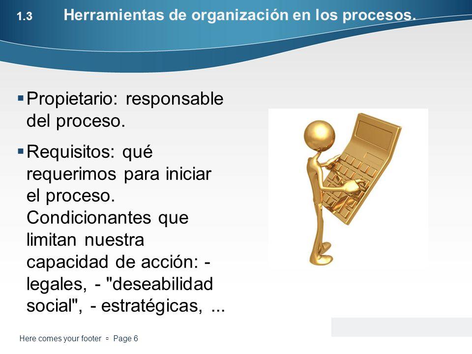 1.3 Herramientas de organización en los procesos. Propietario: responsable del proceso. Requisitos: qué requerimos para iniciar el proceso. Condiciona
