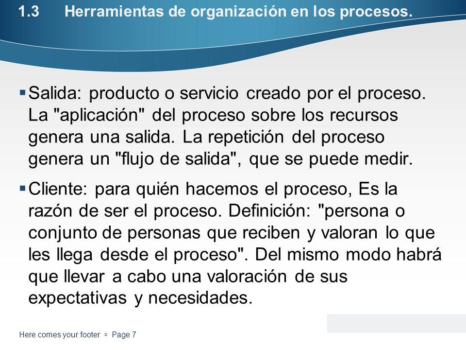 1.3Herramientas de organización en los procesos. Salida: producto o servicio creado por el proceso. La