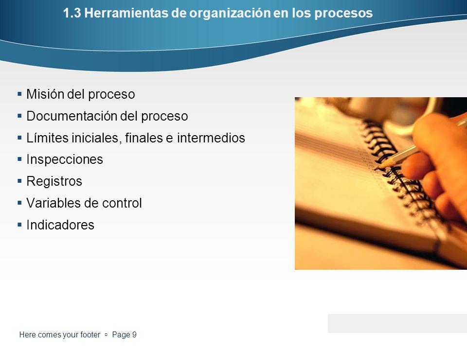1.3 Herramientas de organización en los procesos Misión del proceso Documentación del proceso Límites iniciales, finales e intermedios Inspecciones Re