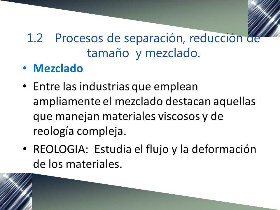 Mezclado Entre las industrias que emplean ampliamente el mezclado destacan aquellas que manejan materiales viscosos y de reología compleja. REOLOGIA:
