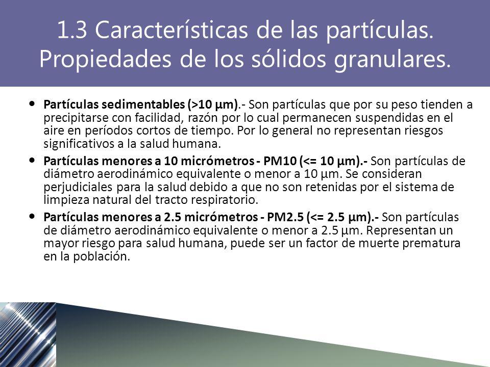 Partículas sedimentables (>10 µm).- Son partículas que por su peso tienden a precipitarse con facilidad, razón por lo cual permanecen suspendidas en el aire en períodos cortos de tiempo.