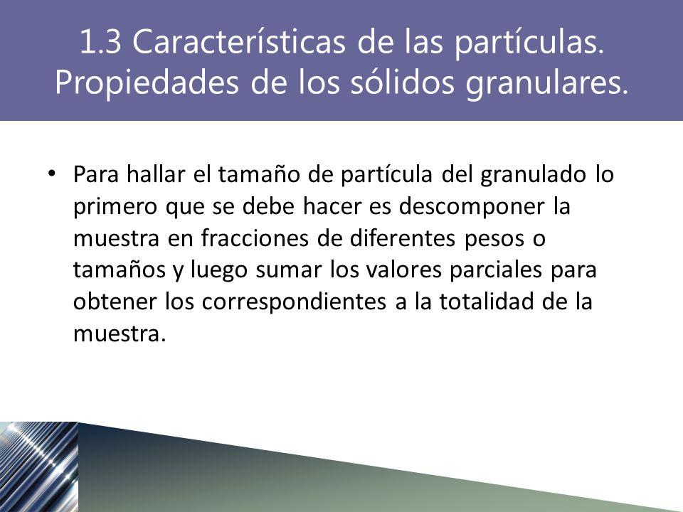 Para hallar el tamaño de partícula del granulado lo primero que se debe hacer es descomponer la muestra en fracciones de diferentes pesos o tamaños y luego sumar los valores parciales para obtener los correspondientes a la totalidad de la muestra.