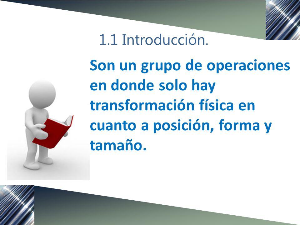 1.1 Introducción. Son un grupo de operaciones en donde solo hay transformación física en cuanto a posición, forma y tamaño.