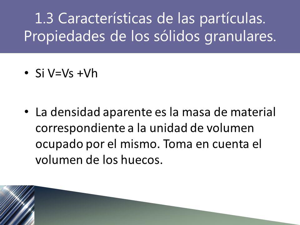 Si V=Vs +Vh La densidad aparente es la masa de material correspondiente a la unidad de volumen ocupado por el mismo. Toma en cuenta el volumen de los