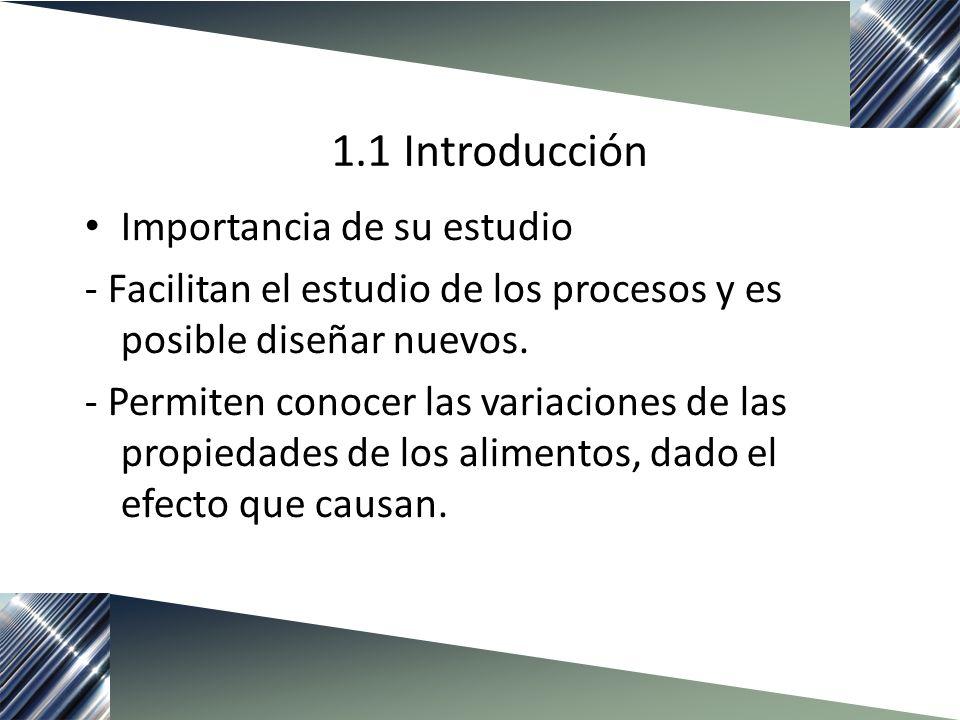1.1 Introducción Importancia de su estudio - Facilitan el estudio de los procesos y es posible diseñar nuevos. - Permiten conocer las variaciones de l