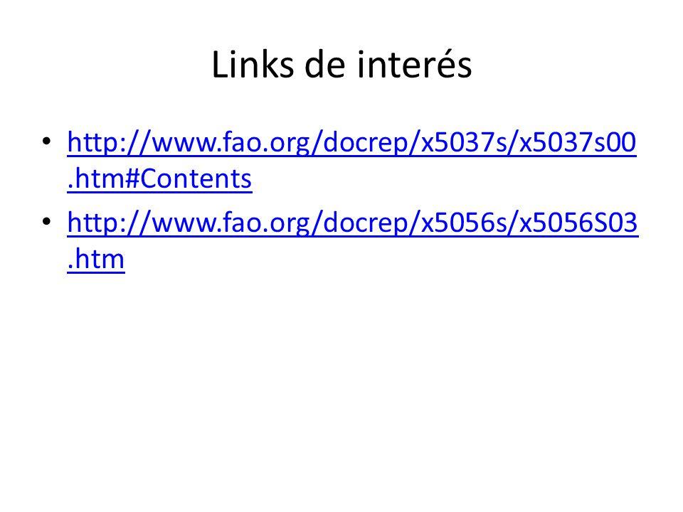 Links de interés http://www.fao.org/docrep/x5037s/x5037s00.htm#Contents http://www.fao.org/docrep/x5037s/x5037s00.htm#Contents http://www.fao.org/docr