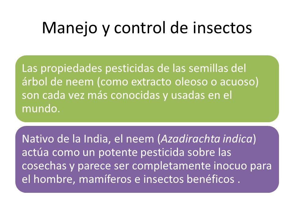 Manejo y control de insectos Las propiedades pesticidas de las semillas del árbol de neem (como extracto oleoso o acuoso) son cada vez más conocidas y