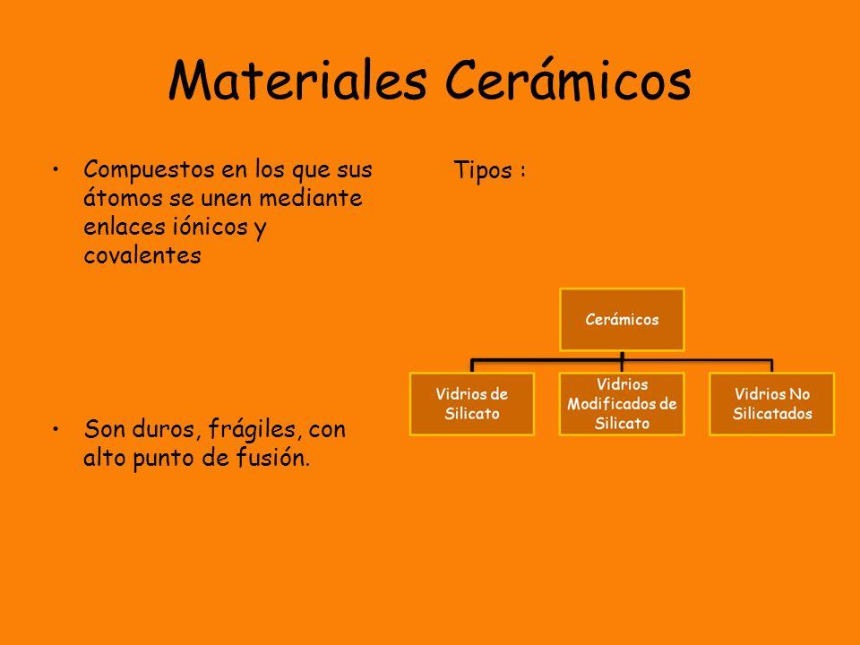 Materiales Cerámicos Compuestos en los que sus átomos se unen mediante enlaces iónicos y covalentes Son duros, frágiles, con alto punto de fusión. Tip