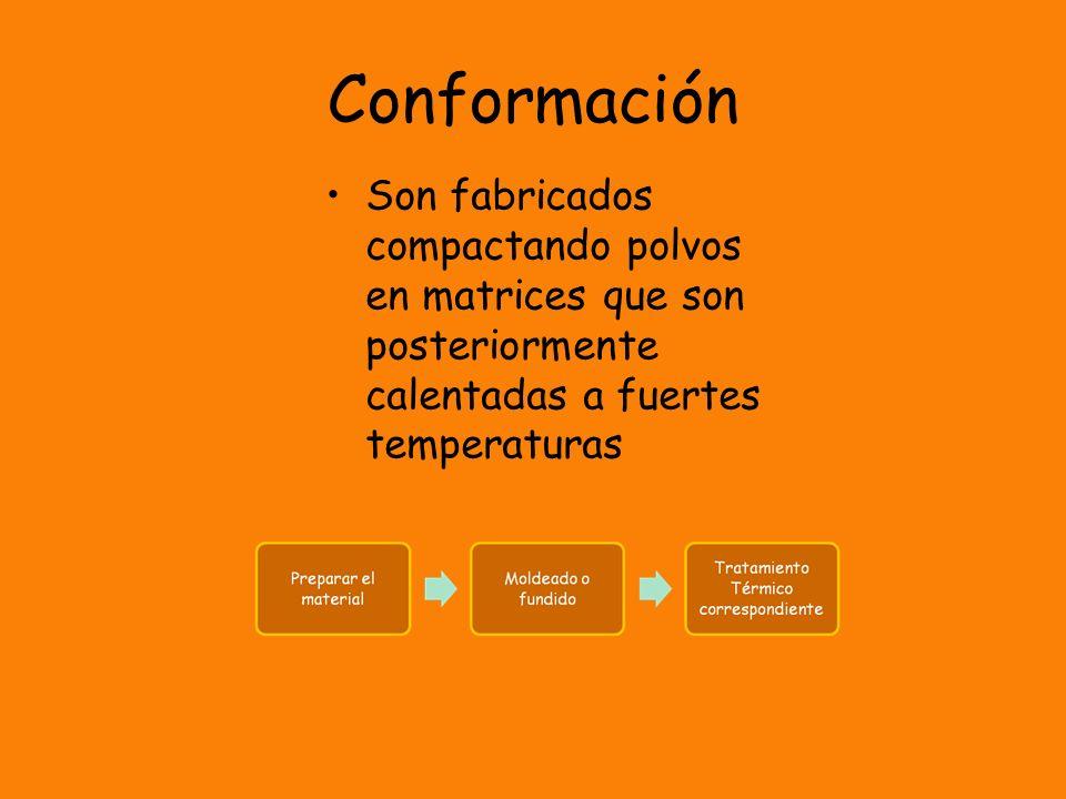 Conformación Son fabricados compactando polvos en matrices que son posteriormente calentadas a fuertes temperaturas