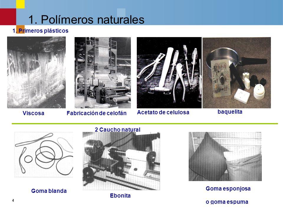 4 1.Polímeros naturales 2 Caucho natural 1.