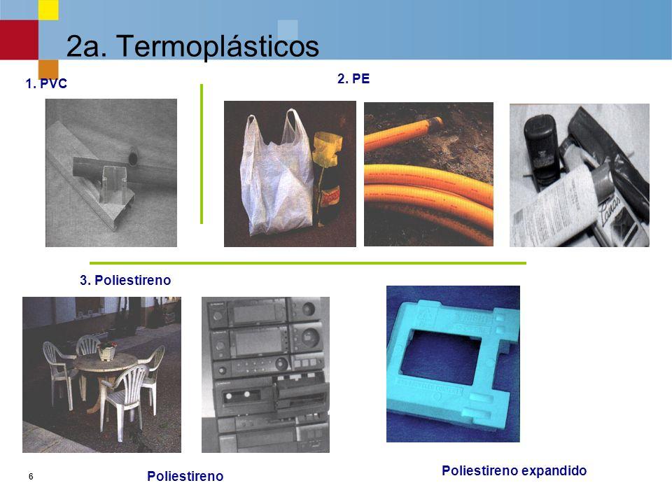 6 2a.Termoplásticos 3. Poliestireno 1. PVC Poliestireno duro Poliestireno expandido o porexpán 2.